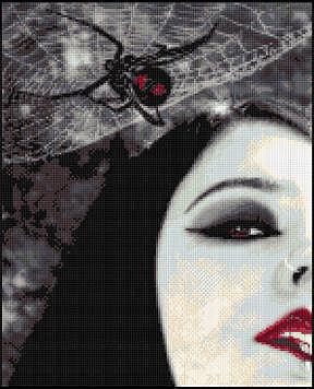 Black Widow Counted Cross Stitch Kit