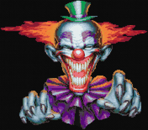 Creepy Clown Counted Cross Stitch Kit Macabre/Horror
