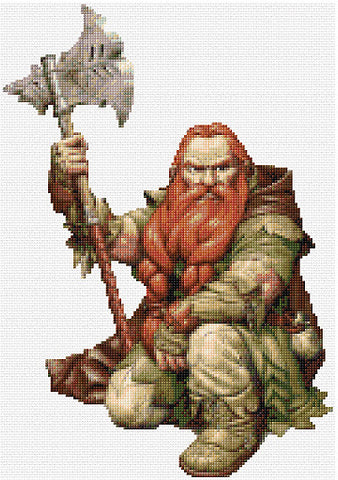 Dwarf Warrior Counted Cross Stitch Kit