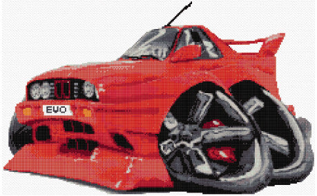 BMW M3-Car Caricature Counted Cross Stitch Kit