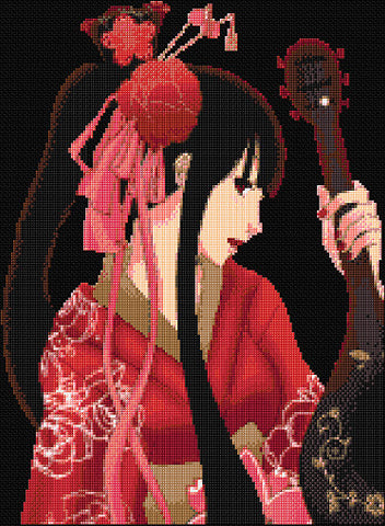 Geisha with Mandolin Counted Cross Stitch Kit