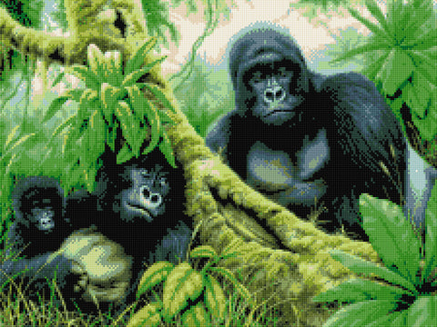 Gorilla Family Counted Cross Stitch Kit