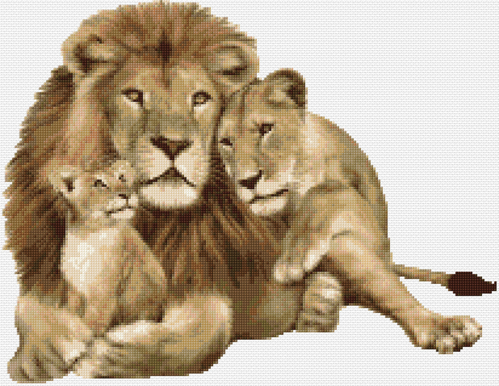 Lion Family  Counted Cross Stitch Kit