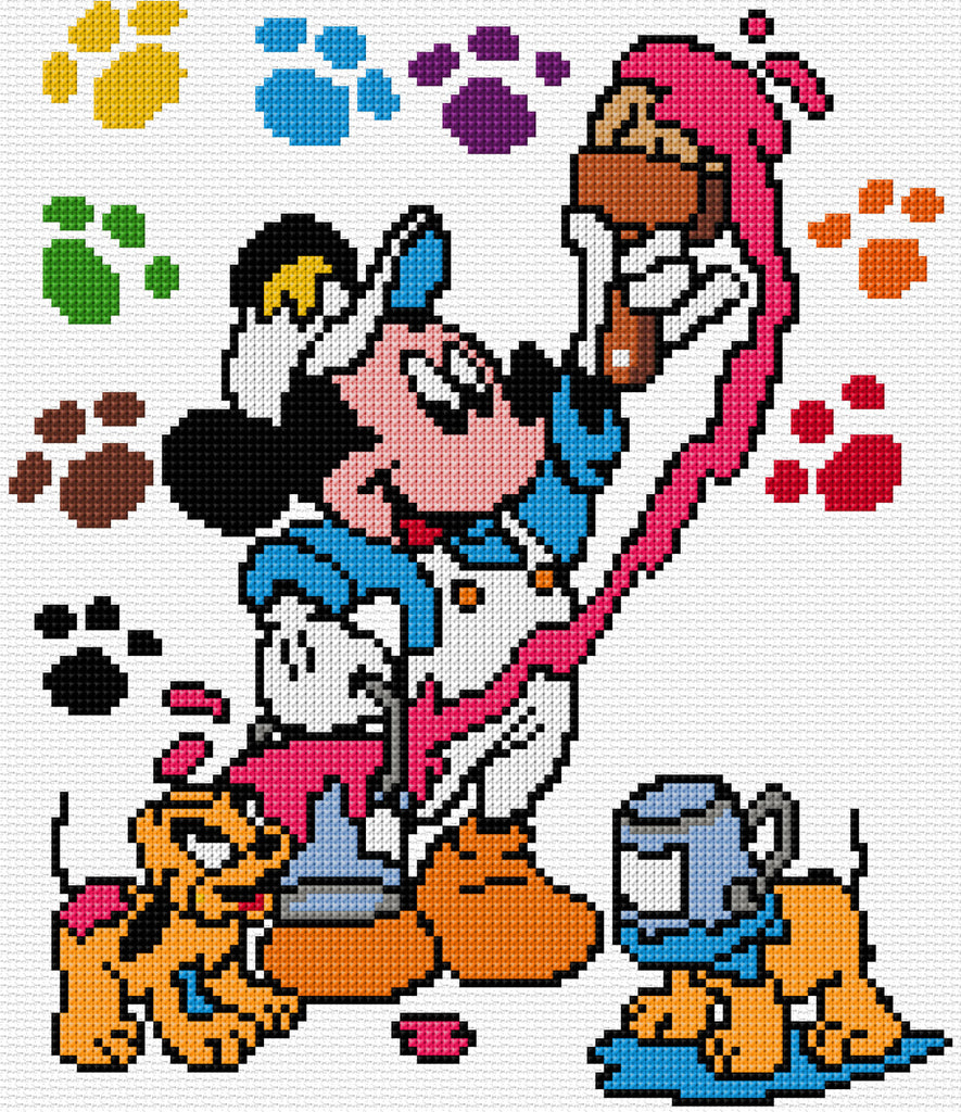 Mickey Mouse-Colours Counted Cross Stitch Kit