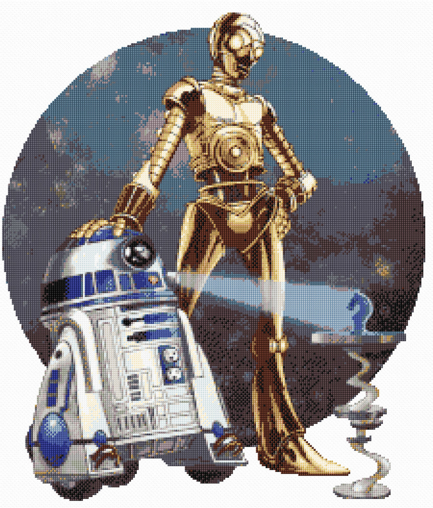 R2D2 & C3PO Star War Characters Counted Cross Stitch Kit