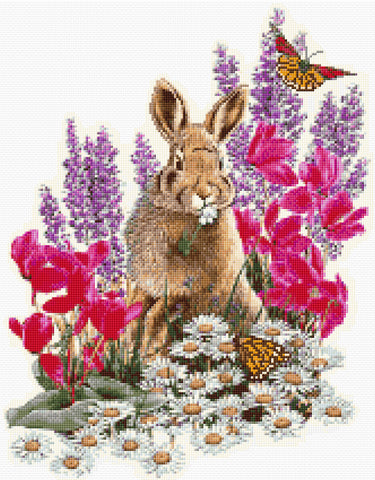 Rabbit & Butterflies Counted Cross Stitch Kit