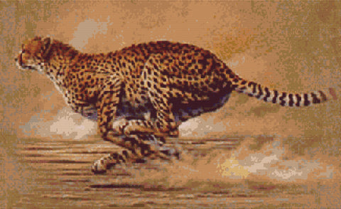 Runing Cheetah Counted Cross Stitch Kit