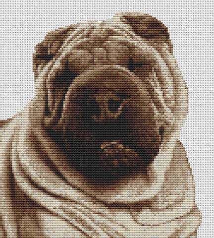 Shar Pei Dog Counted Cross Stitch Kit