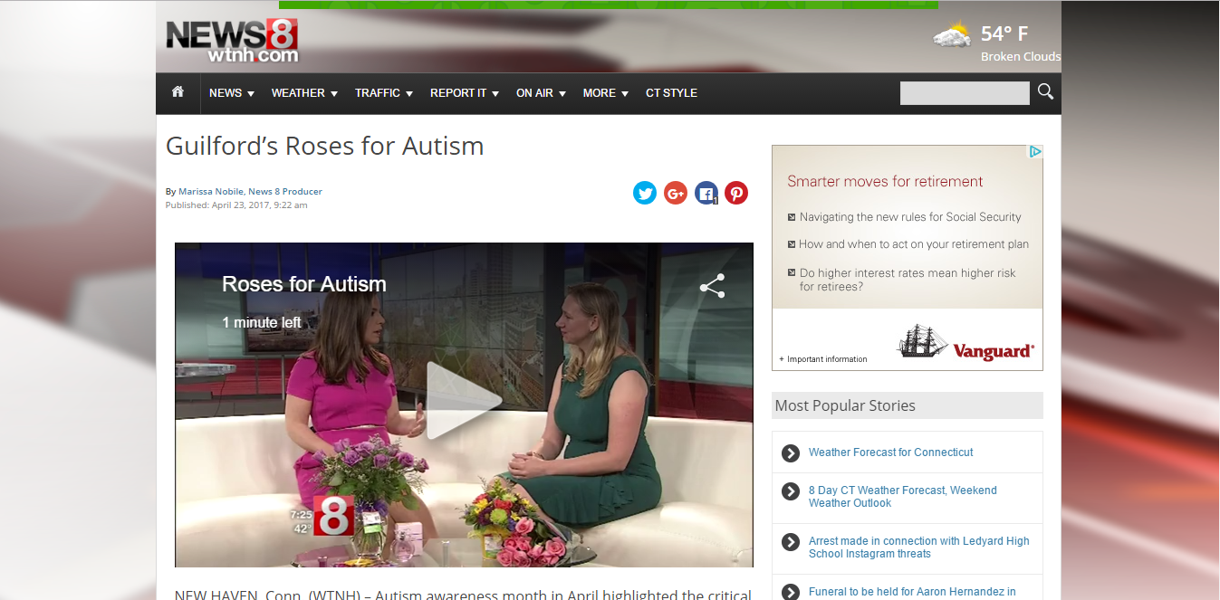 News Channel 8 interview with Michelle Ouimette - Roses for