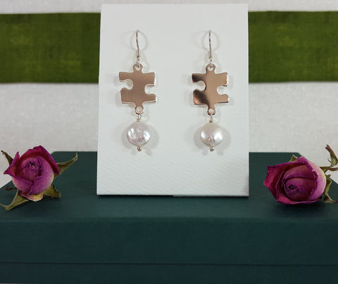 Sterling Silver Freshwater White Coin Drop Pearl Earrings with Sterling Puzzle Charm