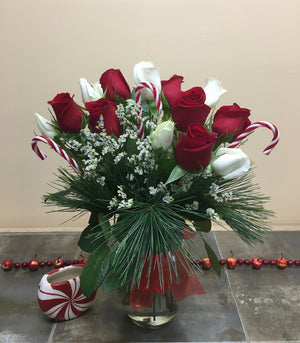 Holiday Red and White Candy Cane Rose Bouquet with Vase - Shipping included!