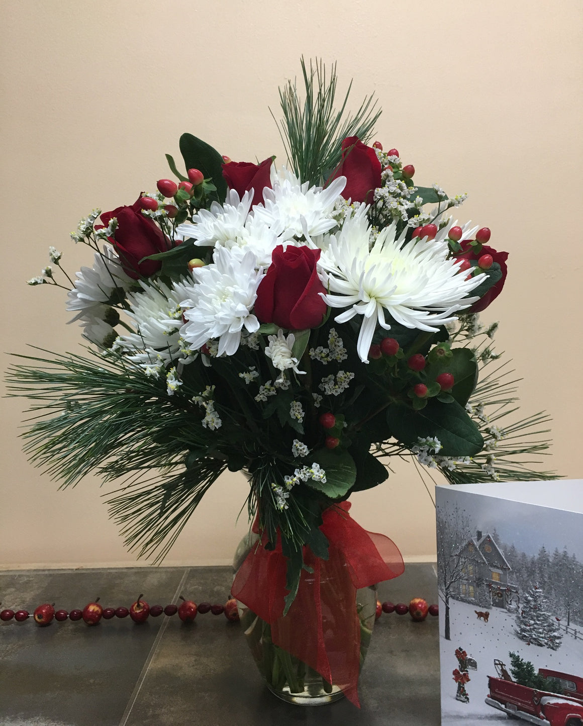 Holiday Celebration Bouquet with Vase - Shipping included!