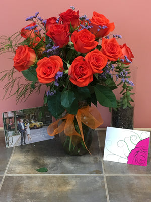 Orange Rose Bouquet with Vase
