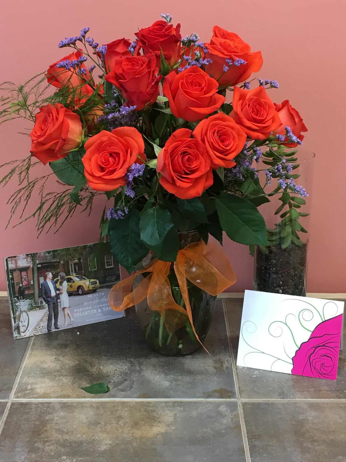 Orange Rose Bouquet with Vase - Shipping Included!