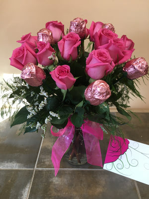 Chocolate and Pink Rose Valentine's Day Bouquet with Vase - Shipping Included!