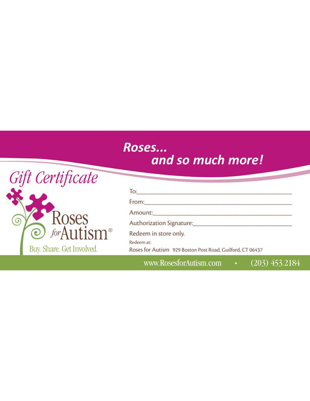 Roses for Autism Gift Certificate