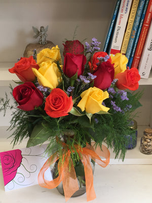 Rainbow Rose Bouquet with Vase