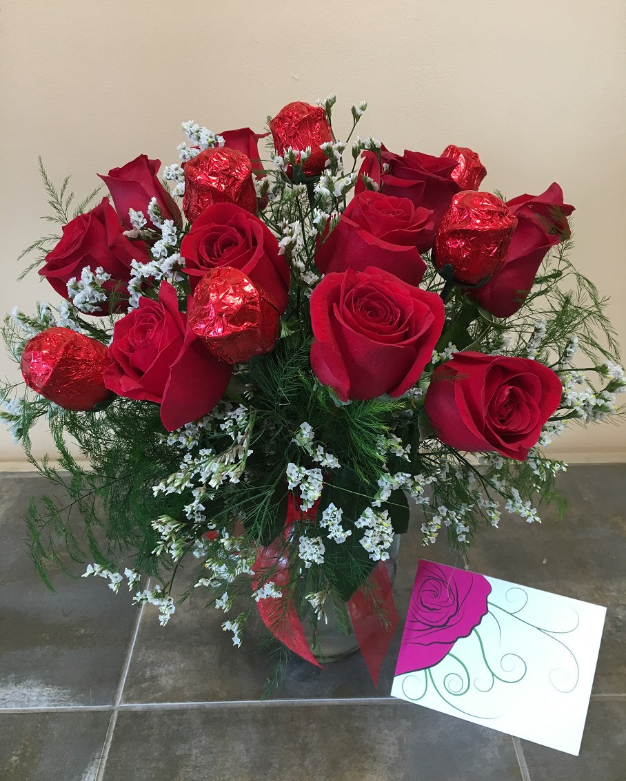 Chocolate and Red Rose Valentine's Day Bouquet with Vase - Shipping Included!