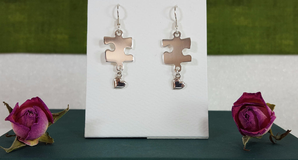 Sterling Silver Puzzle Heart Drop Earrings