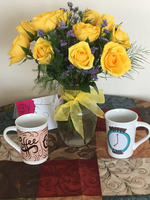 Yellow Rose Bouquet with Vase - Shipping Included!