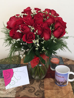 Lover's Delight, Two Dozen Forever Red Roses with a Vase - Shipping Included!