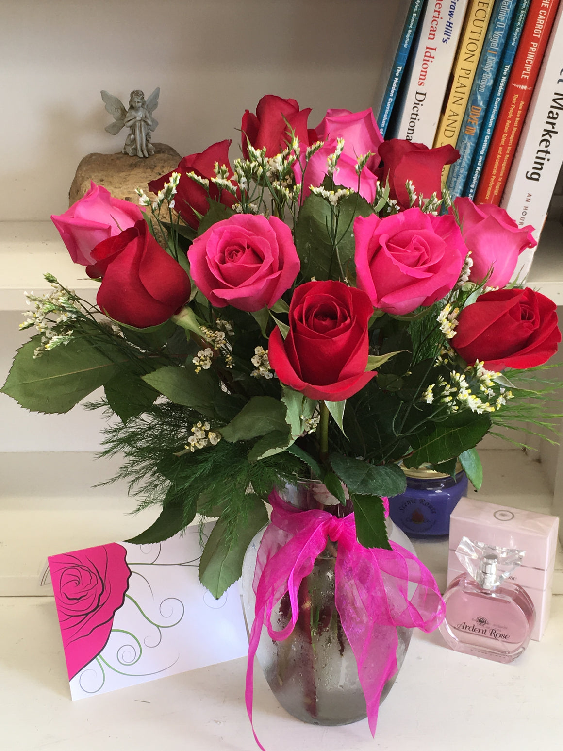 Pink and Red Rose Bouquet with Vase - Shipping Included!