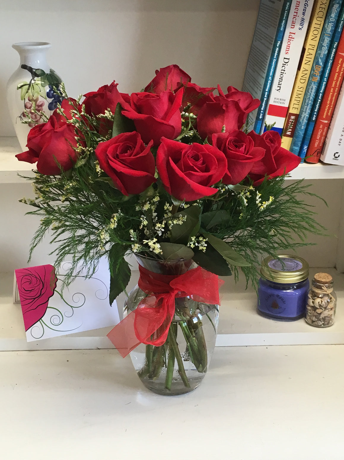 Lovely Forever RED Dozen Roses with Vase - Shipping Included!