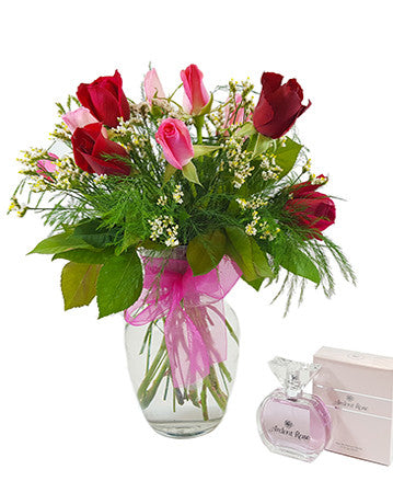 Ardent You Beautiful Pink and Red Rose Bouquet & A bottle of Ardent Rose Perfume