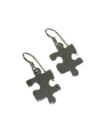 Sterling Silver Single Puzzle Piece Earring With Free Shipping