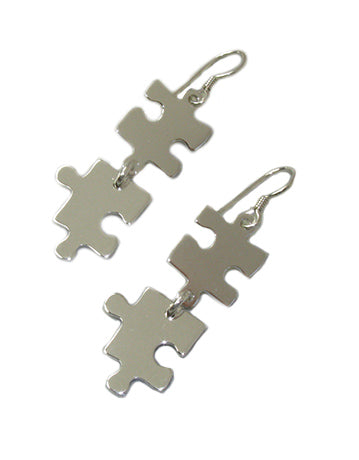 Sterling Silver Double Puzzle Piece Earrings With Free Shipping