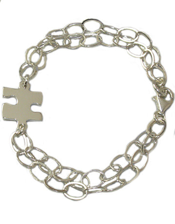 Sterling Silver Puzzle Piece Chain Bracelet With Free Shipping