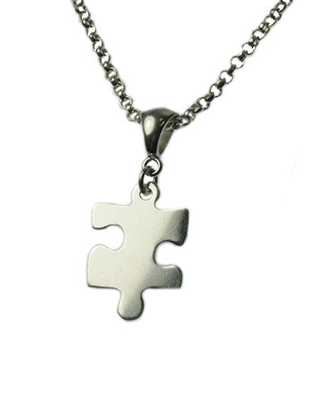 "Sterling Silver Puzzle Piece Necklace 18"" With Free Shipping"