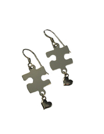 Sterling Silver Puzzle Piece Earring (w/ hearts) With Free Shipping