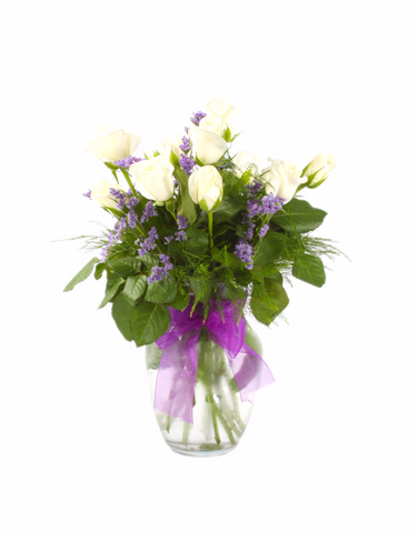 Innocent White Rose Bouquet with Purple Limo & A Decorated Vase