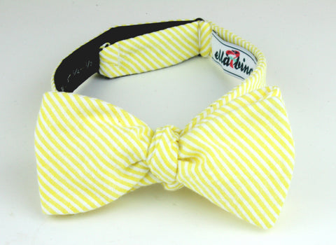 yellow seersucker bow tie by ella bing