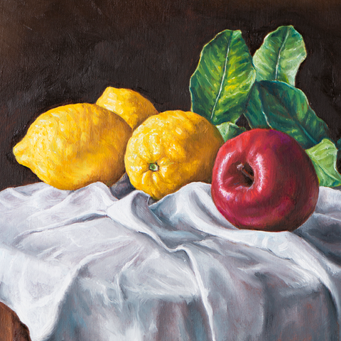 Oil painting of a still life