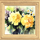 Orginal watercolor painting two lovely yillow roses