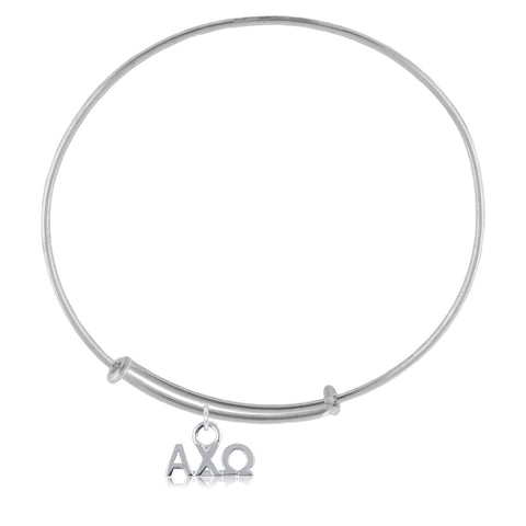 Alpha Chi Omega Silver Adjustable Bracelet