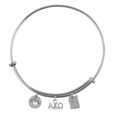 Alpha Chi Omega Silver Adjustable Bracelet with Charms