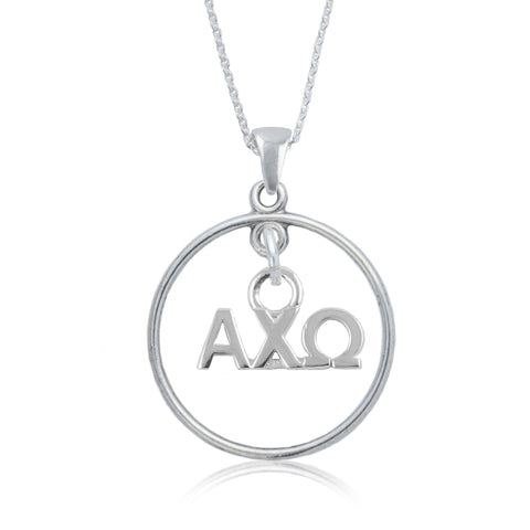 Alpha Chi Omega Silver Open Drop Necklace