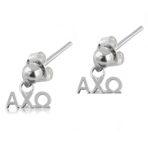 Alpha Chi Omega Silver Post Dangle Earrings