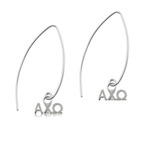 Alpha Chi Omega Silver Fishhook Earrings