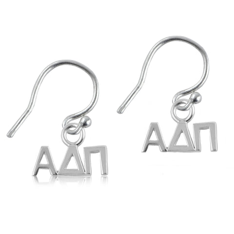 Alpha Delta Pi Silver Earrings
