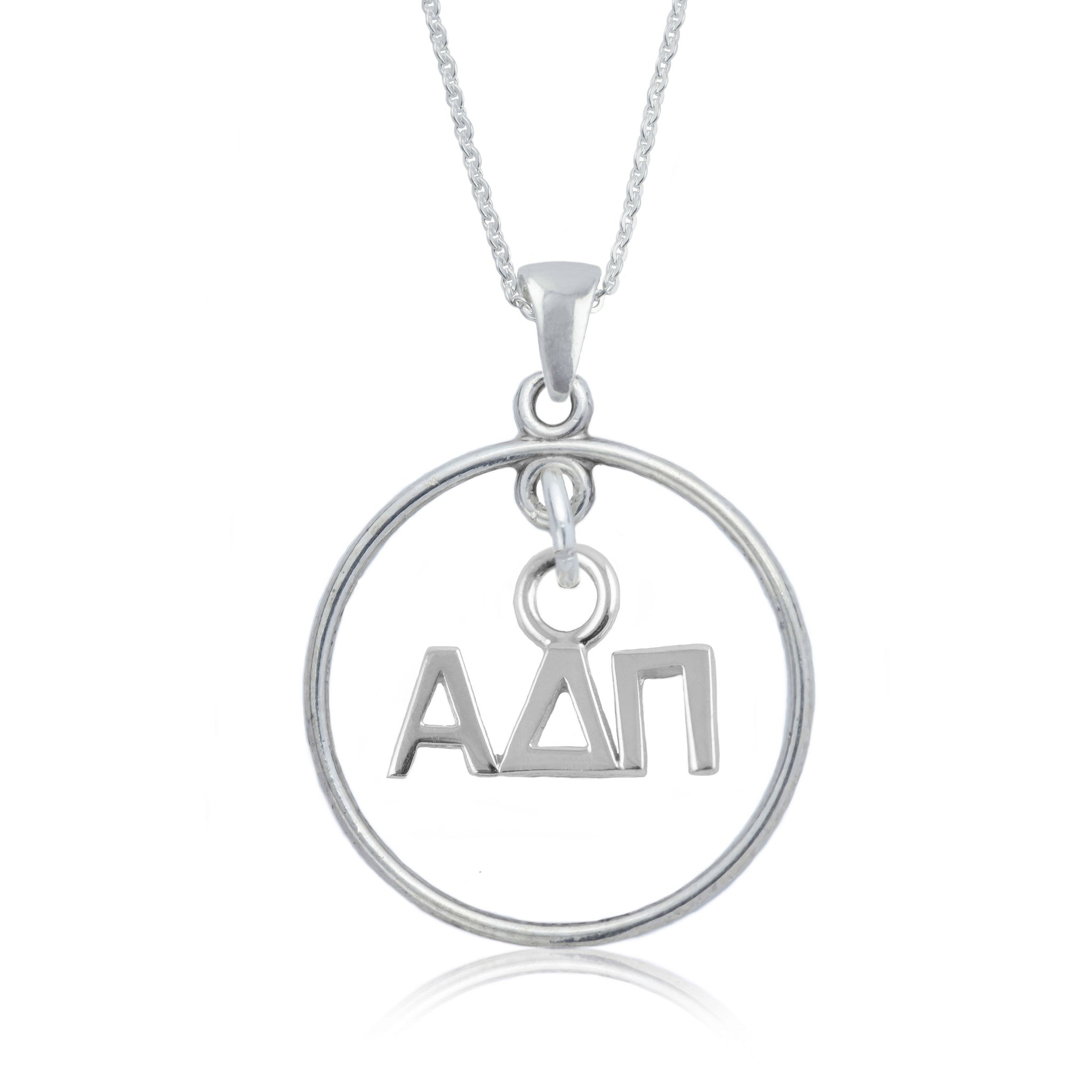 Alpha Delta Pi Silver Open Drop Necklace