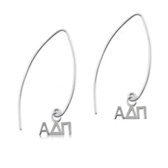 Alpha Delta Pi Silver Fishhook Earrings