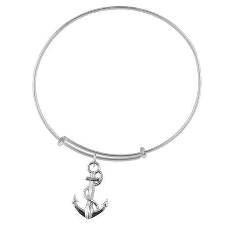 Anchor Silver Adjustable Bracelet