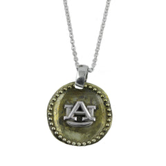 NCAA Auburn Tigers Antique Coin Silver Necklace