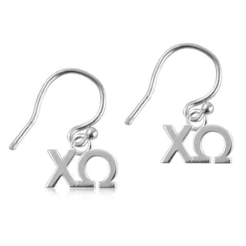 Chi Omega Silver Earrings