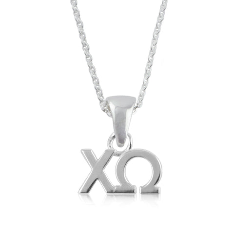 Chi Omega Silver Necklace