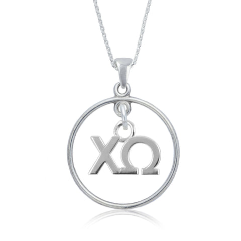 Chi Omega Silver Open Drop Necklace